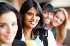 College girls closeup. Group of female college girls closeup portrait Stock Photos
