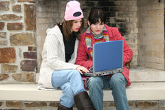 College Girls Outside with Laptop Stock Images