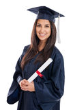 College Graduate in Cap and Gown. Beautiful mixed race Japanese Mexican young woman college graduate portrait wearing cap and gown with diploma isolated on white Stock Photos