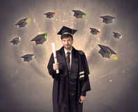 College graduate with many flying hats Stock Images