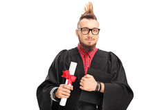 College graduate with a Mohawk hairstyle Royalty Free Stock Image