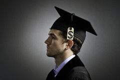 College graduate with tuition price tag, horizontal Stock Images