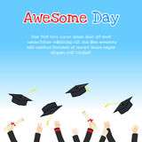 College graduation day card illustration design with hands holdi. Ng diploma and throwing graduation caps Royalty Free Stock Photos