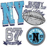 College graphics for t-shirt new york rugby Royalty Free Stock Photos