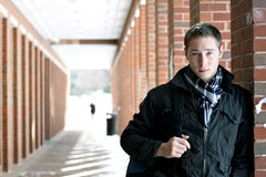 College Guy on Campus Stock Photo