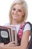 College or High school schoolgirl woman student. Education series - Young blond Caucasian female college or high school student with backpack and composition Stock Photography