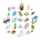 College house icons set, isometric style. College house icons set. Isometric set of 25 college vector icons for web isolated on white background royalty free illustration