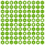 100 college icons hexagon green. 100 college icons set in green hexagon isolated vector illustration Stock Photography