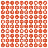 100 college icons hexagon orange Stock Photo