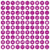 100 college icons hexagon violet. 100 college icons set in violet hexagon isolated vector illustration royalty free illustration
