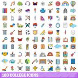 100 college icons set, cartoon style Royalty Free Stock Image