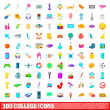 100 college icons set, cartoon style Stock Images