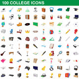 100 college icons set, cartoon style. 100 college icons set in cartoon style for any design vector illustration Royalty Free Stock Image