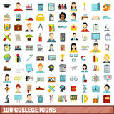 100 college icons set, flat style. 100 college icons set in flat style for any design vector illustration Royalty Free Stock Image