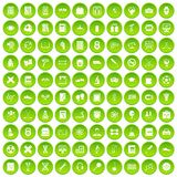 100 college icons set green circle. Isolated on white background vector illustration Stock Photo