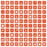 100 college icons set grunge orange. 100 college icons set in grunge style orange color isolated on white background vector illustration vector illustration