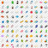 100 college icons set, isometric 3d style. 100 college icons set in isometric 3d style for any design vector illustration Royalty Free Stock Image