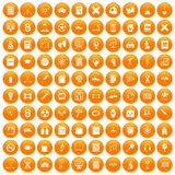 100 college icons set orange. 100 college icons set in orange circle isolated on white vector illustration stock illustration