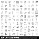 100 college icons set, outline style. 100 college icons set in outline style for any design vector illustration Royalty Free Stock Photos
