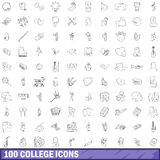 100 college icons set, outline style Stock Image