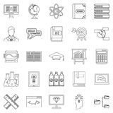 College icons set, outline style. College icons set. Outline set of 25 college vector icons for web isolated on white background Royalty Free Stock Images