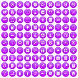 100 college icons set purple. 100 college icons set in purple circle isolated on white vector illustration vector illustration