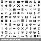100 college icons set, simple style. 100 college icons set in simple style for any design vector illustration royalty free illustration