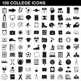 100 college icons set, simple style. 100 college icons set in simple style for any design illustration vector illustration