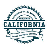 College-Kalifornien-Ausweis und -aufkleber Gestaltungselement, T-Shirt Grafiken, Vektoren Stockfotografie