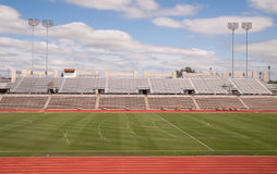 College Level Track Stadium Puffy Clouds Blue Sky Royalty Free Stock Images