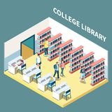 College Library Isometric Composition. Isometric composition with students studying in college library 3d vector illustration stock illustration