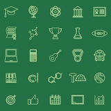 College line color icons on green background Royalty Free Stock Photos