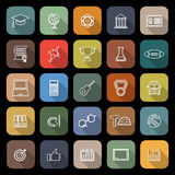 College line flat icons with long shadow Royalty Free Stock Photography