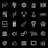 College line icons on black background Royalty Free Stock Image