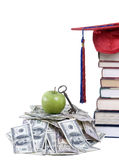 College Money. Going to school is your future. Education, learning, teaching. A graduation cap with an apple and alot of money Stock Image