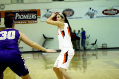 College NCAA DIV III Women's Basketball Royalty Free Stock Images