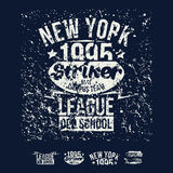 College New York team rugby retro emblem and design elements Royalty Free Stock Photos