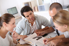 College people studiing together at school Stock Photo