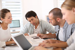 College people studying together at school Stock Photography