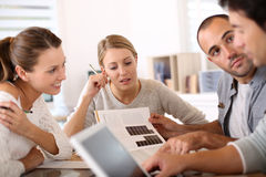 College people working together at school Royalty Free Stock Image