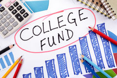College fund education fees planning. The words College Fund circled in red surrounded by graphs, calculator, books and pencils Royalty Free Stock Image