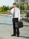 College Professor With Books And Bag At Campus Stock Photo