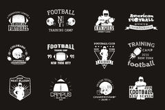 College rugby and american football team, campus. College rugby and american football team campus, college badges, logos labels insignias in retro style Graphic Stock Photography