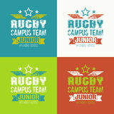 College rugby junior team emblem Stock Photos