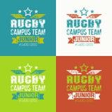 College rugby junior team emblem Stock Photos