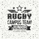 College rugby junior team emblem Royalty Free Stock Photos
