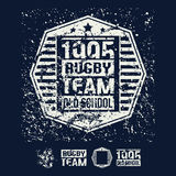 College rugby retro emblem and design elements Royalty Free Stock Photo