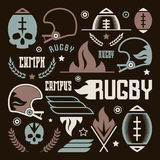 College rugby team badges. In retro style. Graphic design for t-shirt. Color print on a black background stock illustration