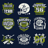 College rugby team emblem. Graphic design for t-shirt Royalty Free Stock Images