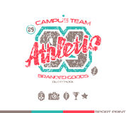 College rugby team emblem. In retro style. Graphic design for t-shirt. Color  print on white background Royalty Free Stock Images
